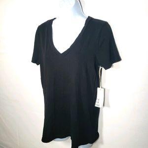 Anthropologie Lacausa Black Vneck Tshirt Size Sm